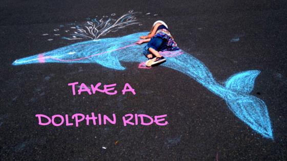 kreide Foto kind reitet auf Delphin