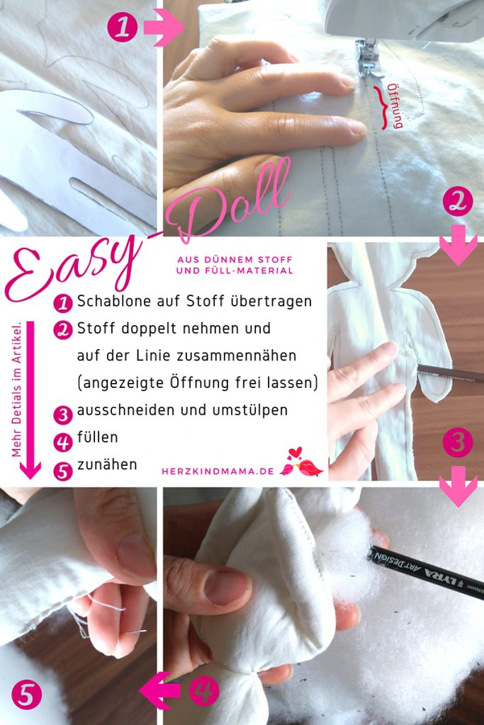 Stoffpuppe DIY selber machen Easy Doll Anleitung