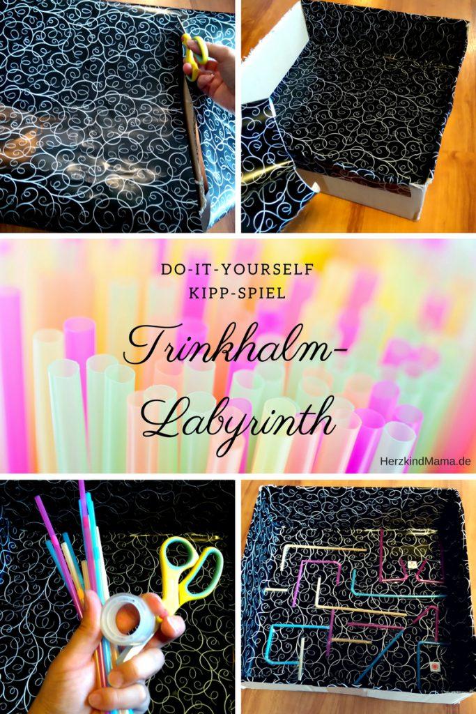 Trinkhalm Labyrinth Strohhalm-Labyrinth Kippspiel Basteln