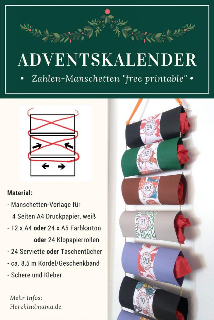 Adventskalender hängend basteln Rollen Röhrchen Vorlagen DIY