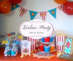 Zirkus Party Set kostenlose Vorlage ausdrucken Muffindeko Wimpelkette Kindergeburtstag