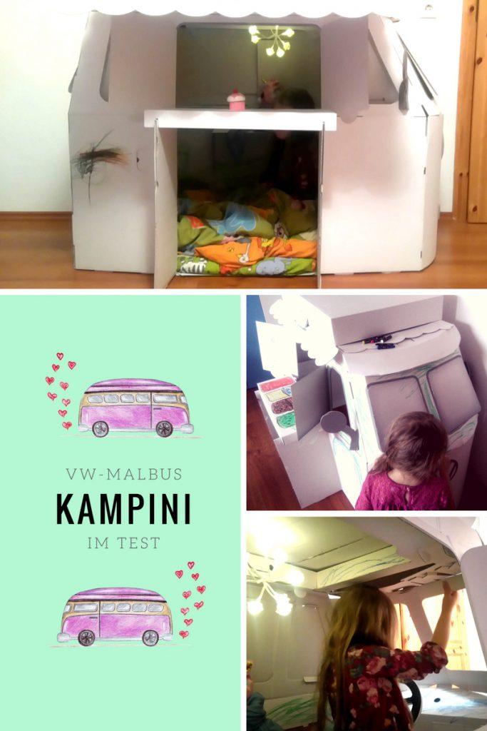 kreatives Spielzeug aus Pappe Malbus Spielbus kampini vw bus