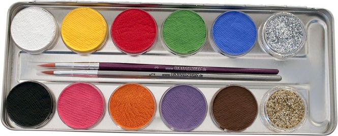 Kinderschminke Eulenspiegel Set Wasserbasis 12 Farben